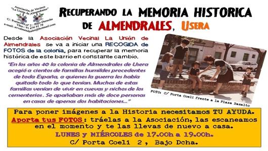 La asociación invita a participar en la recuperación de la Memoria Histórica / AAVV LA UNIÓN DE ALMENDRALES