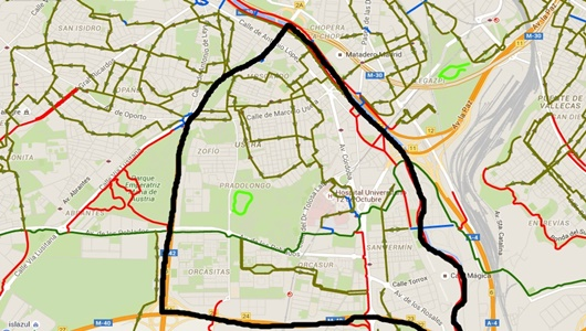 Mapa de los carriles bici (rojo) y zonas recomendadas para el transito (verde) / AYTO DE MADRID