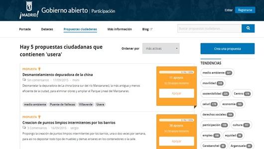 """Interfaz de la web """"Madrid Decide"""" con las propuestas para usera/ MADRID DECIDE"""