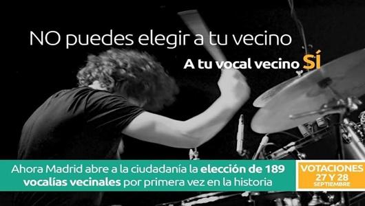 Cartel de Ahora Madrid para invitar a los vecinos a la participación de las elecciones / AHORA MADRID