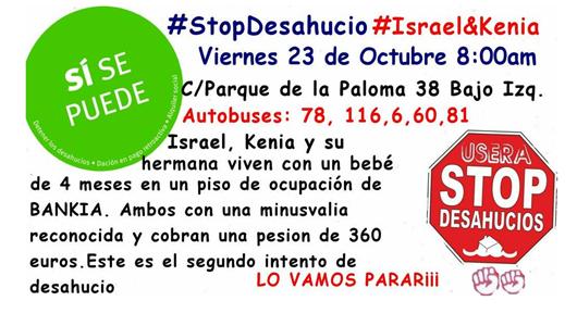 Cartel informativo de Stop Desahucios Usera / @VIVIENDAUSERA