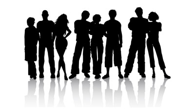 young-people-silhouettes-vector-material-18146