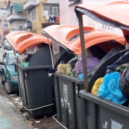 Cubos de basura abiertos situados en la calle Andrés Arteaga / CARLOS SANZ